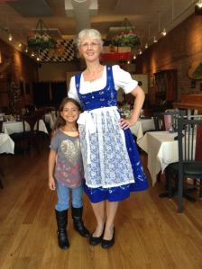 Manuela Young and her authentic German dress -cool huh?