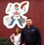 Luke, General Manager and I pose in front of Fat Tommy, The Cookhouse mascot.