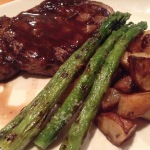 Grilled Ribeye with asparagus and potatoes